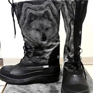 Men Warm Snow Wolf Print Waterproof Winter Boots